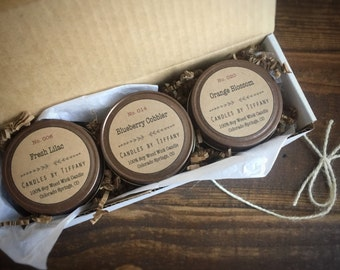 Soy Wood Wick Candles, 4 Ounce, Scented Candles, Choose Your Scent, Candle Box Set, Personalized Candles, Candle Gift
