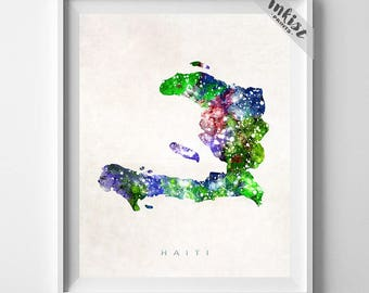 Haiti Map Print, Port Au Prince Print, Haiti Poster, Port-au-Prince, Map Art, Travel Poster, Wall Art, Watercolor Painting, Dorm Art