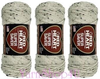 3 Pack! ARAN FLECK Red Heart Super Saver. 5oz Acrylic Yarn, Oatmeal Fleck yarn, Multi Fleck Yarn, Spotted yarn, medium worsted E300-4313
