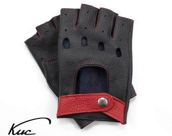 Superb fingerless leather gloves, car driving gloves, deerskin leather, great gift - navy blue with red