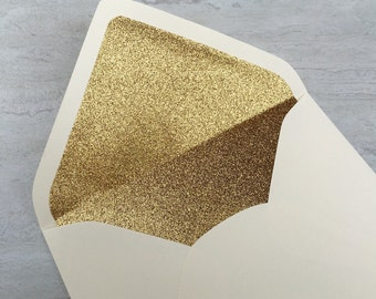 Soft White Ivory A7 5x7 Gold or Silver Glitter Lined Envelopes - Soft White Ivory Champagne Paper Source Envelopes