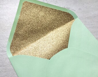 Mint A7 5x7 Gold or Silver Glitter Lined Envelopes - Mint Green Paper Source Envelopes