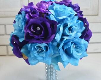 Turquoise, Royal Purple Silk Wedding Bouquet , Artificial Flower Bouquet,  Wedding Bouquet, Bridesmaid Bouquet.