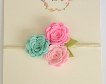 Wool felt flower headband Trio flowers headband Baby felt flower