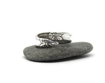 reversible ring ,  silver plate ring, garland ring, spoon ring
