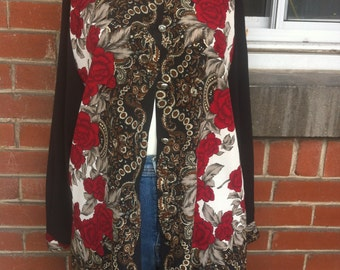 large scarf buttom up blouse