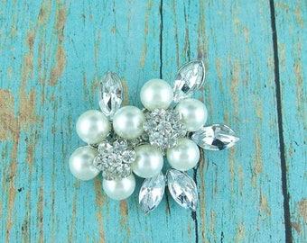 SALE Ends Sunday Rhinestone Flower Pearl Cluster Brooch, Wedding Brooch, Bridal Brooch, wedding brooches, wedding dress pin, bridal dress br