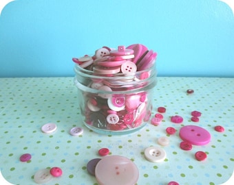 Bulk Buttons, Pink Buttons, Different sizes, Supplies for Knitting Patterns, Crochet, Collage, Scrapbooking, Button Art