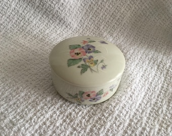 Russ  Porcelain Round Floral Trinket Box, Russ 4932, Floral Lidded Trinket Box, Treasure Box, Japan,  Floral Trinket Box, Jewel Box, Pansies