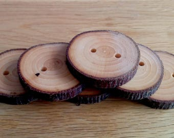 6 Handmade Rowen Wooden Buttons 35 - 40mm Tree Branch Buttons Sewing Knitting Craft