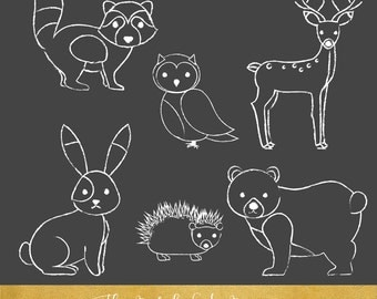 Forest and Woodland Animals Clipart Set - Sketched Style - INSTANT DOWNLOAD - 18 .PNG Images