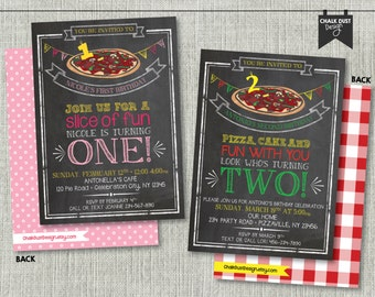 """Custom chalkboard style pizza party invitations. Boy or girl, first birthday or any age, color. Digital file or Printed. 5"""" x 7"""""""