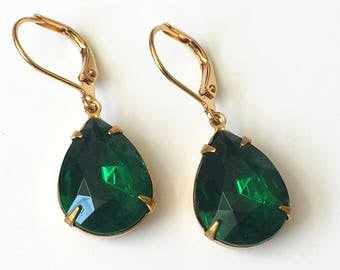 Emerald Rhinestone Earrings Emerald Green Teardrop Earrings Wedding Jewelry Bridesmaids Jewelry Green and Gold Drop Earrings Green Earrings