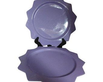 Rare Set of 2 Purple Ceramic Serving Platters