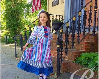 GIRLS PATRIOTIC DRESS red white and blue dress 4th of july anchor parade outfit