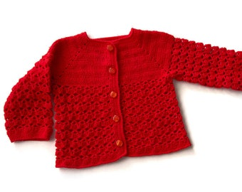 Handmade Red Crochet Cardigan for a Baby Girl (9-12mo)