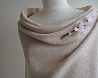 Lambswool Wrap / Shawl/ Wedding / Bride Shawl - Knitted in Greenwich London with British Spun Wool  -  Colour Oyster