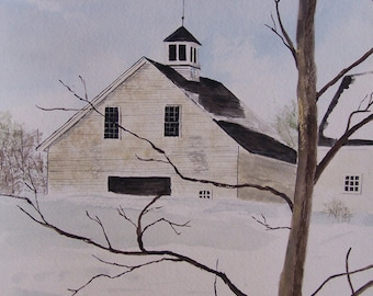 "watercolor painting of barn, original barn painting,  snow painting of barn,""FACE BARN"",10.5""w x 15""h,Artist Peter Kundra"