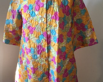 1960's Flower Power Button Front Renaissance Robe