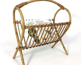 Vintage bamboo and rattan magazine rack.