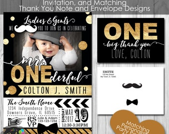 Mr. ONEderful, Little Man first Birthday Party, Personalized Printable Invitation, and Thank You Note, Envelopes, Banner and Welcome Sign