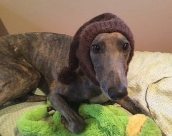Greyhound hat with snood--super soft! Beaver