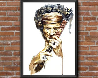 Keith Richards watercolor portrait PRINT