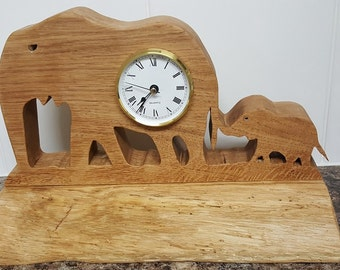 Hand crafted solid oak Elephant mantel clock