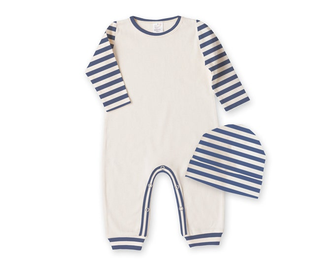 Newborn Boy Coming Home Outfit, Baby Boy Set, Newborn Come Home Outfit Boy, Baby Boy Romper Baby Boy Hat, Blue Stripe TesaBabe RC001220BIY
