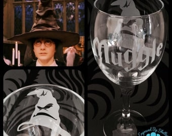 Custom Made Harry Potter Wine Glass With FREE Personalisation!  Handmade Gift!
