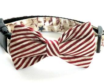 Vintage Patriotic Dog Collar Bow Tie set