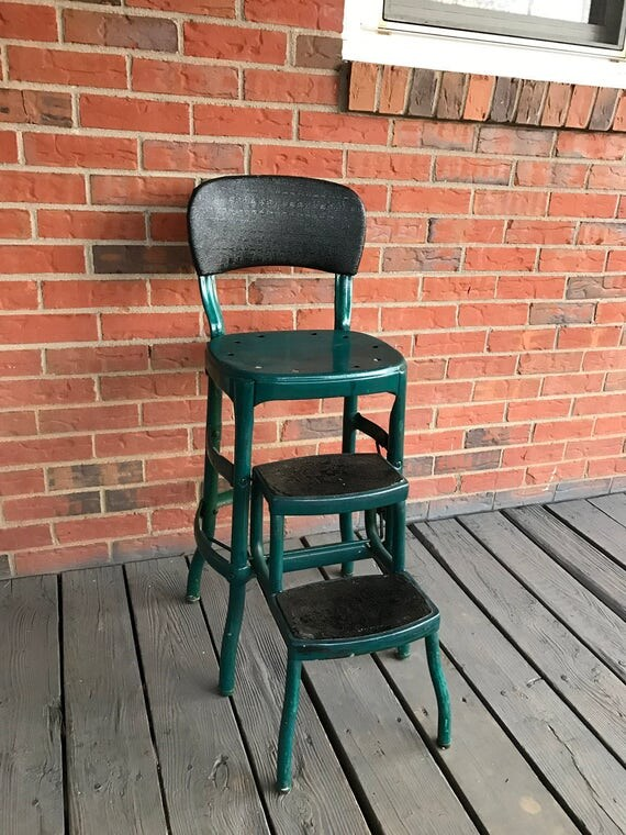 Vintage Cosco Metal Step Stool Folding Chair Green Turquoise