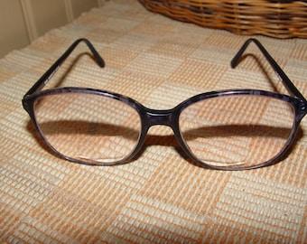 Vintage 140 Adensco Eyeglasses, Eyewear Frames France, 1970s Eyeglass Frames, Violet / Blue Shell Look 8532