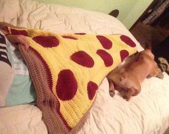 Crochet PATTERN - Pepperoni Pizza Slice Blanket; Pizza Afghan Blanket Pattern; Crochet Pizza Cocoon Blanket; Adult size; PDF download file