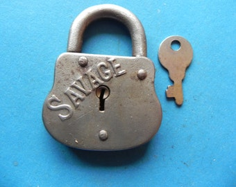 "Antique ""SAVAGE"" Padlock W/ Key."