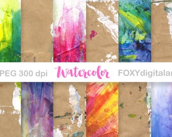 Watercolor Digital Paper: Watercolor Scrapbook Paper, Watercolor Background, Watercolor Textures, Digital Watercolor Paper, Cards