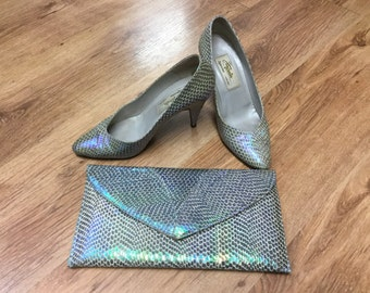 1980s Renata opal snake shoes and bag size 5