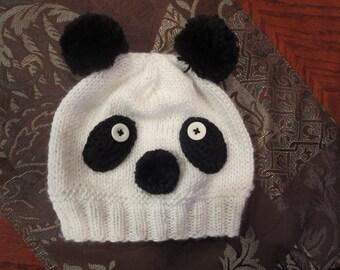 Sombrero hecho a mano de Panda, Panda sombrero de punto para niños, sombrero del invierno de Panda,