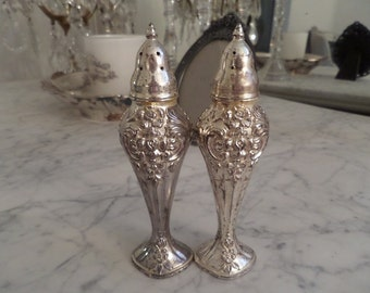 Stunning Antique French Louis Ornate Roses Pair Silver Salt And Pepper Shakers Shabby Chic