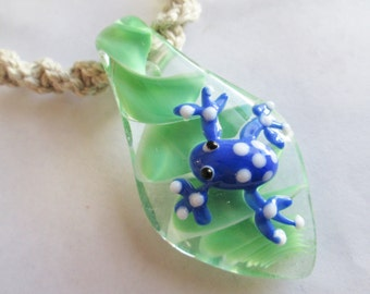 Frog - Awesome Blue and Green Glass Frog Pendant on Handmade Hemp Necklace in Your Choice of Color - Tree Frog Hemp Necklace