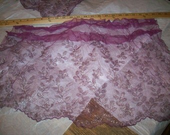 Purple Plum silver metal and silk lace net  french antique supplies