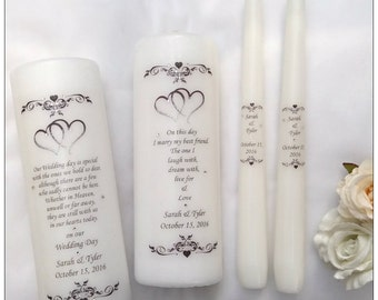 Unity Candle Set - Personalised Unity Candle and Wedding Memorial Set - Wedding Candles