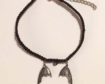 Bat or Dragon Wings Hemp Macrame Choker Necklace In Black and Brushed Silver