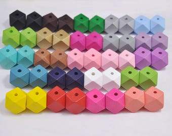 50pc Mixed color Geometric Wood Beads,Hand Painted wood Bead 20mm,spaced bead,DIY Geometric necklace/keyring,Make jewellery for selling