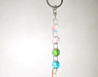 Crystal Prism Beaded Keychain Suncatcher/Window Hanging Decor - AB Clear, Pink, Green, Blue