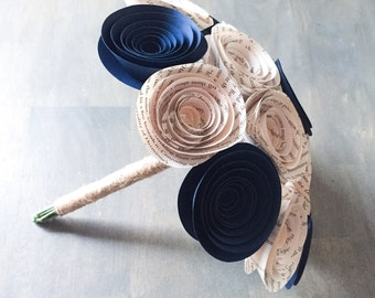 Paper Flower Bouquet - Wedding Bouquet Alternative - Wedding Bouquet - Paper Bridal Bouquet - Paper Flowers - Book Page - Navy Blue