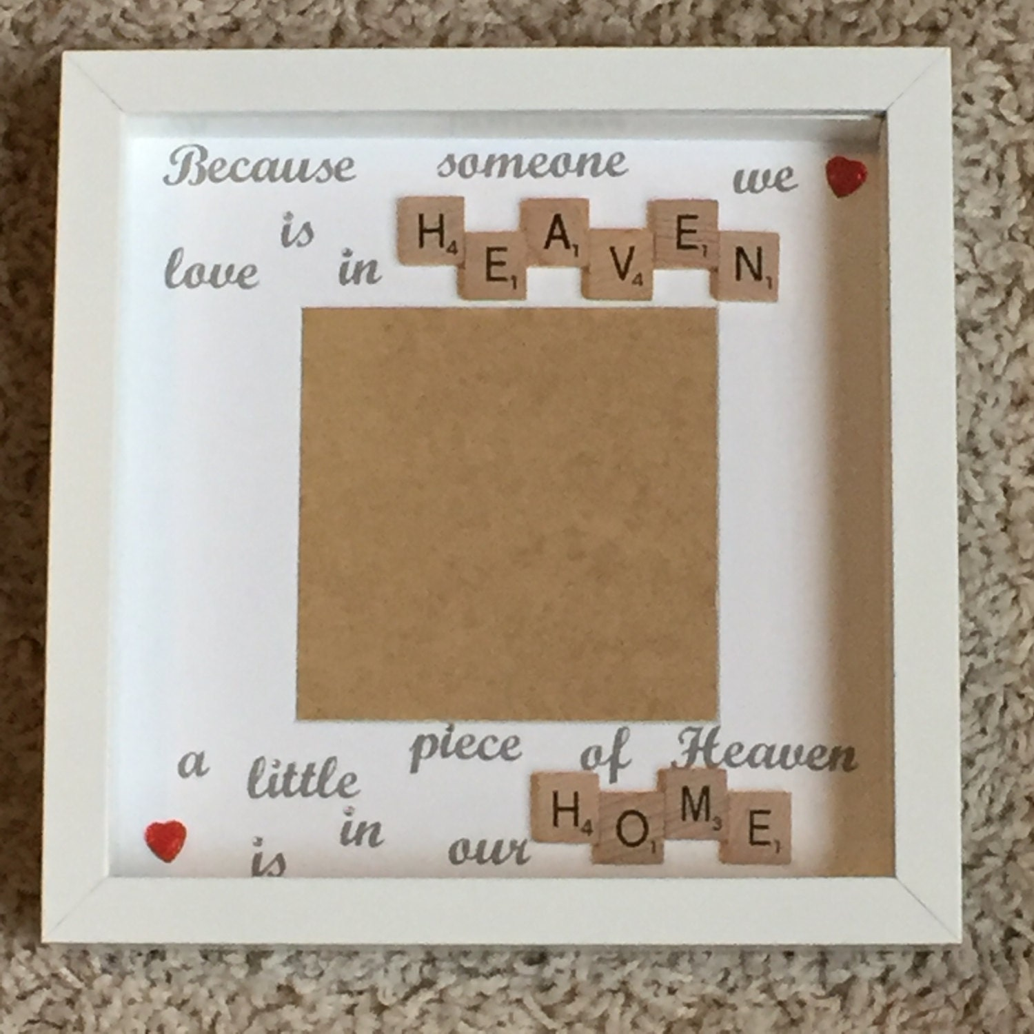 memory frame memorial frame scrabble art frame scrabble frame little piece of heaven photo frame loved one memory frame