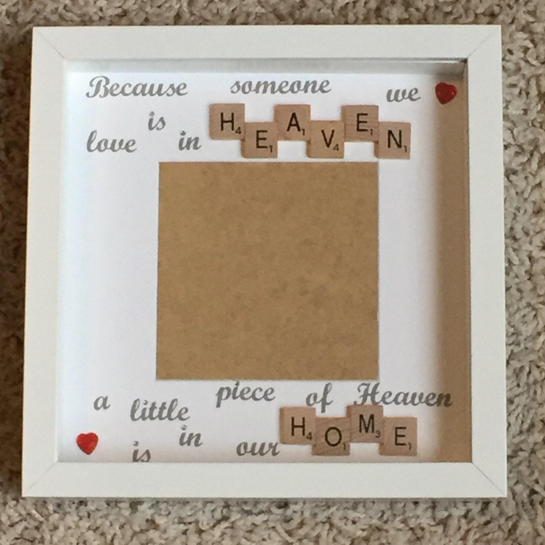 memory frame memorial frame scrabble art frame scrabble frame little piece of heaven photo frame loved one memory frame