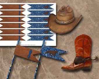 Cowboy Straw Flags Instant Download Printable Straw Flags