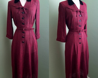 1950's NOS Red and Black Tweed Dress - w29